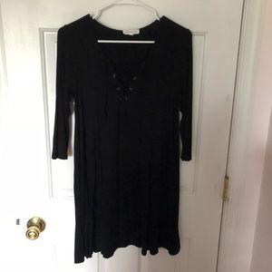 Black lace up casual dress